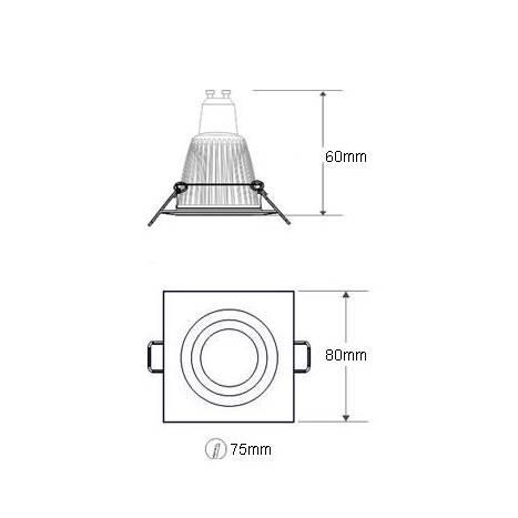 Foco empotrable LED 6w zamak blanco cuadrado