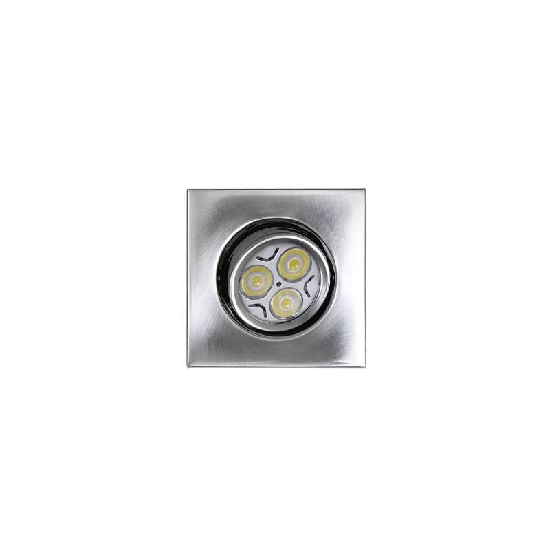 Foco empotrable LED 6w zamak acero cuadrado
