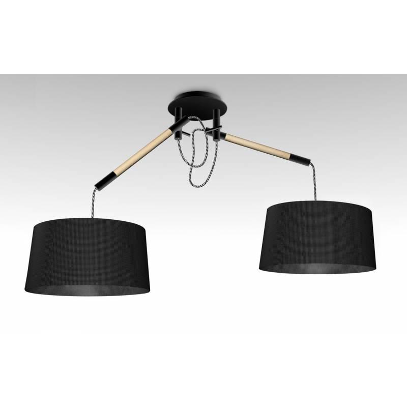 Lampara colgante Nordica 2 luces metal negro de Mantra