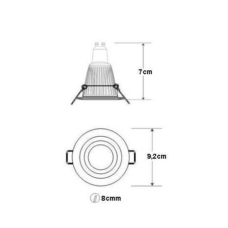 Round recessed light LED 8w aluminium