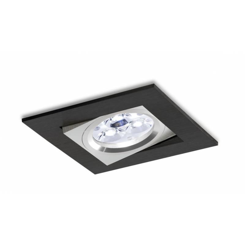 Foco empotrable LED 8w 3002 Sharp cuadrado negro basculante