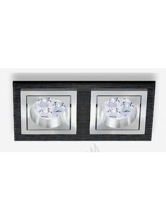 BPM Square recessed 2 light black aluminium