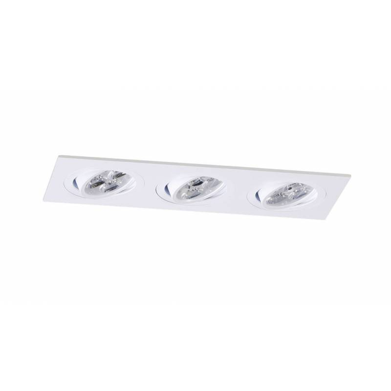 Foco empotrable Mini Catli 3 luces rectangular blanco de Bpm