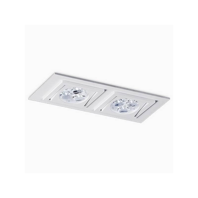 BPM Square recessed 2 light white aluminium