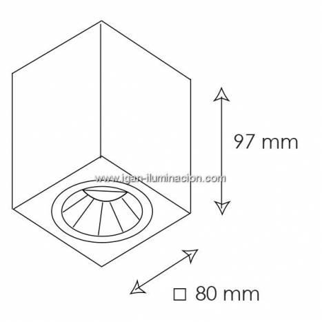 Foco de superficie Kup cuadrado blanco de Bpm