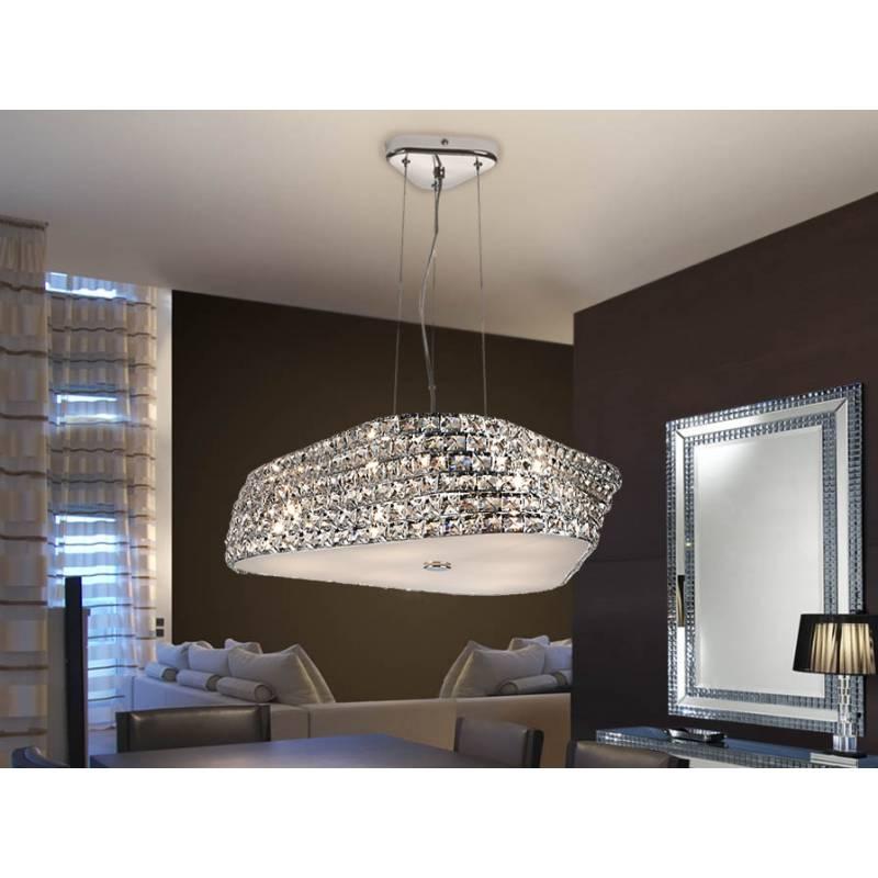 L mpara colgante elis mediana 6 luces cristal schuller - Colgantes de cristal para lamparas ...