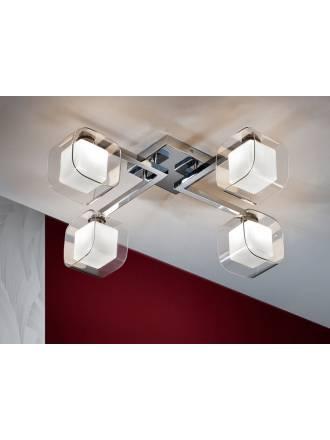 Plafon de techo Cube 4 luces cromo y cristal Schuller