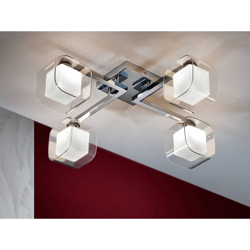 Plaf n de techo cube 4 luces cromo schuller - Plafones de techo para salon ...
