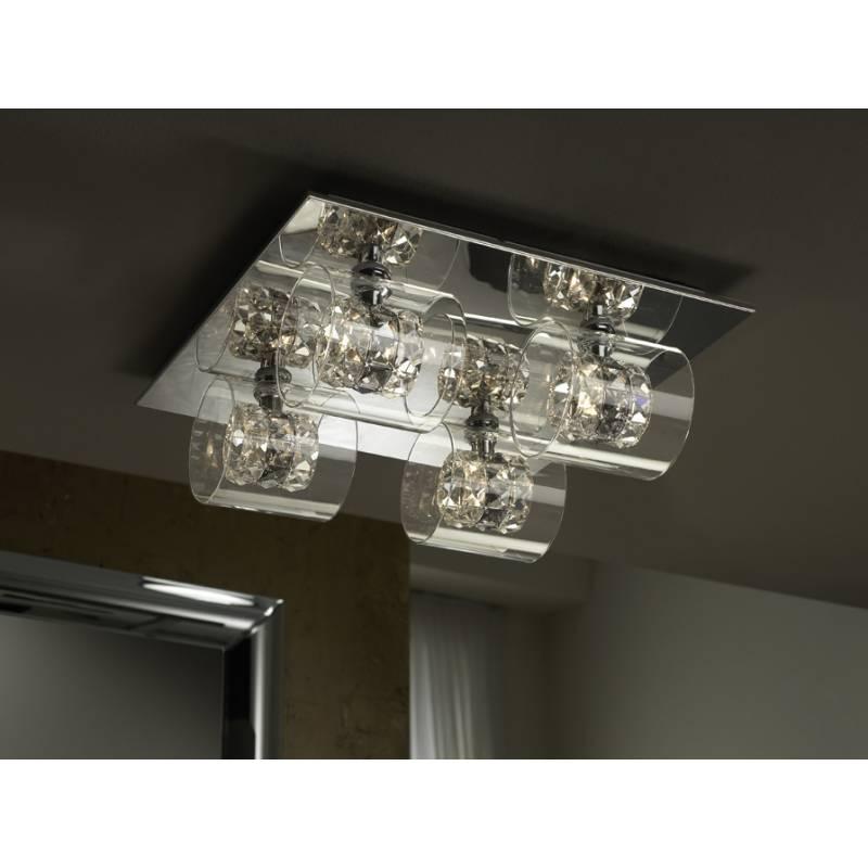 Plafon de techo Flash 4 luces cristal facetado de Schuller