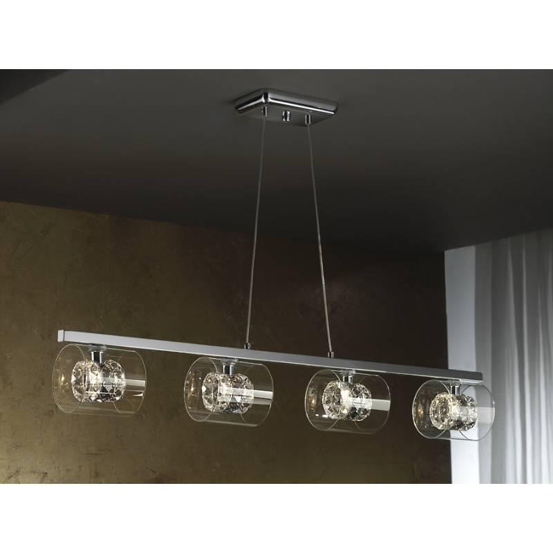 Lampara colgante Flash 4 luces cristal facetado de Schuller