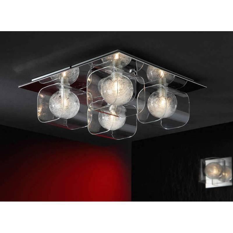 Plafon de techo Eclipse 4 luces cromo y cristal de Schuller