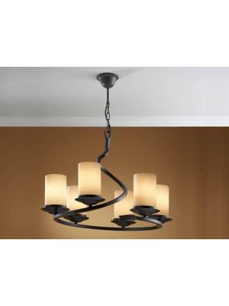 Schuller Crisol pendant lamp 6 lights black oxido