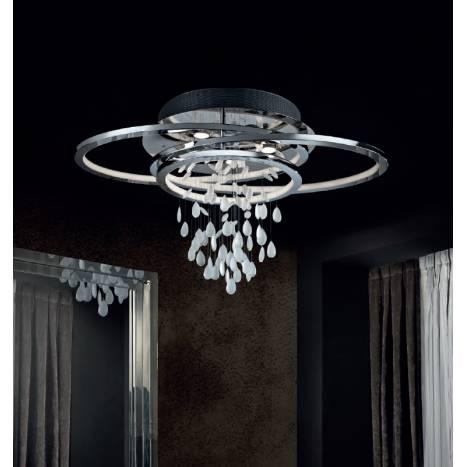 Plafon de techo Bruma LED cromo y cristal de Schuller