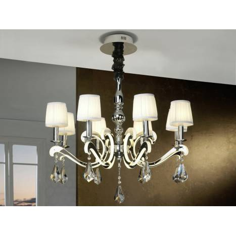 Schuller Creta pendant lamp 8 lights + LED 2w chrome
