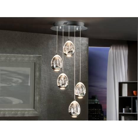 Lampara colgante Rocio 5 luces LED en cromo de Schuller