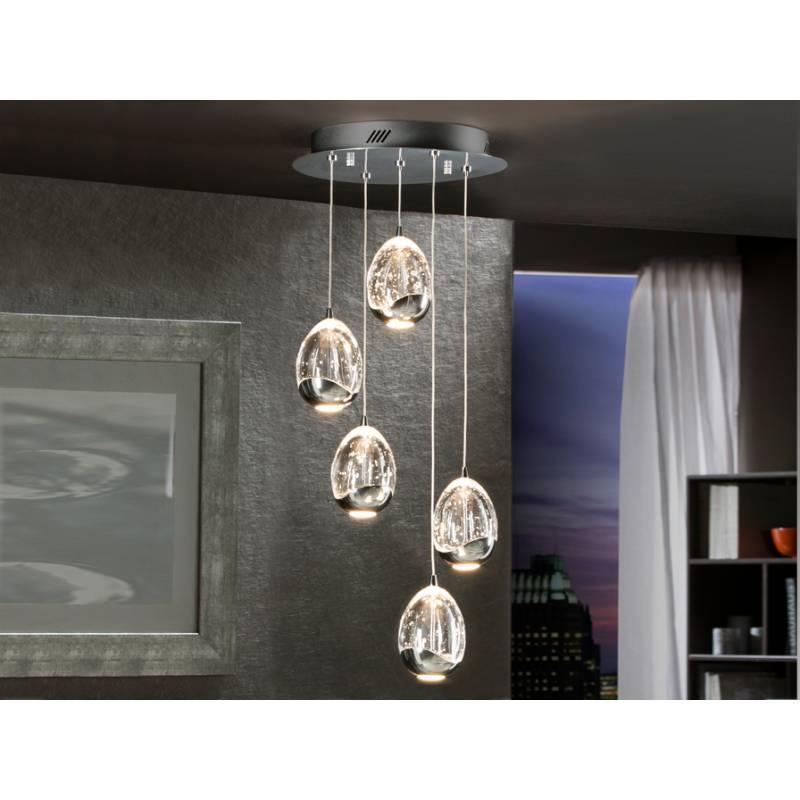 L mpara colgante rocio 5 luces led cromo schuller - Lamparas schuller ...