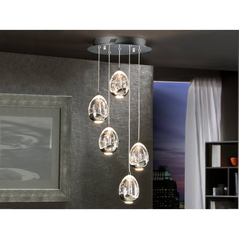Schuller Rocio pendant lamp 5 lights LED chrome
