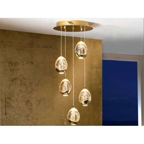 Lampara colgante Rocio 5 luces LED en dorado de Schuller