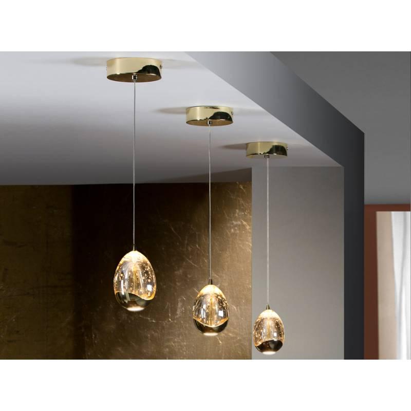 L mpara colgante rocio 1 luz led dorado schuller - Lamparas schuller ...