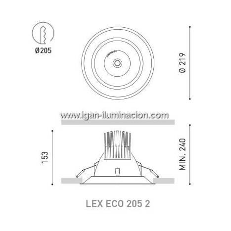 Foco empotrable Lex Eco 205 2 24w blanco de Arkoslight