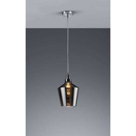 Trio Calais pendant lamp 1L smoke glass
