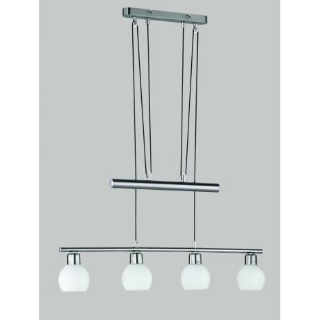 Lampara colgante Ballu 4 luces LED acero inox y cristal de Trio