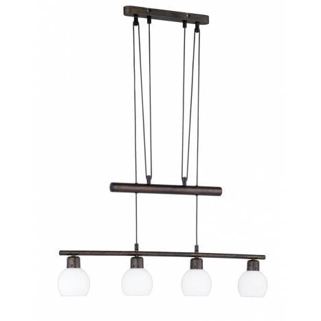 Lampara colgante Ballox 4 luces LED oxido de Trio