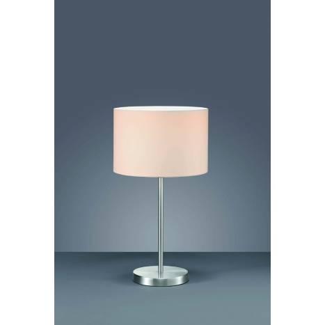 Lampara de mesa Texti 1 luz acero inox tela blanca de Trio