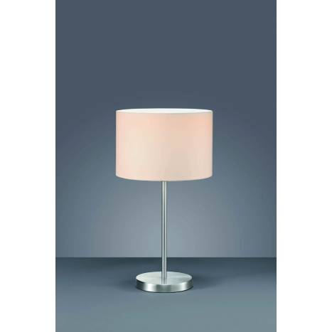 Trio Texti table lamp 1L nickel and white
