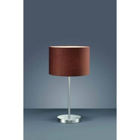 Trio Texti table lamp 1L nickel and brown