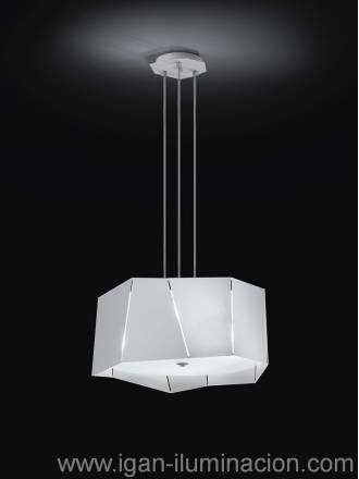 Lampara colgante Axis 3 luces metal plegado blanco