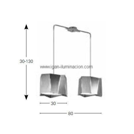 Lampara colgante Axis 2 pantallas metal plegado blanco