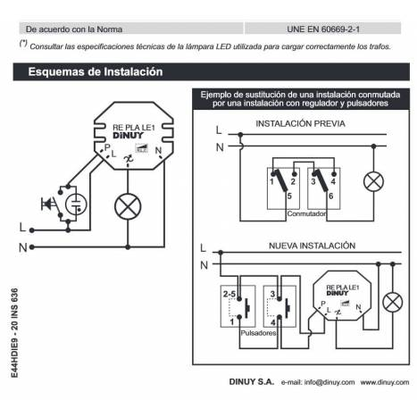 DINUY RE PLA LE1 dimmer for LED