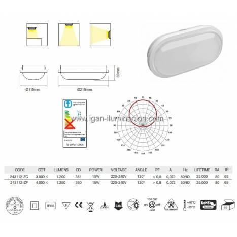 Aplique de pared Zibor LED 15w IP65 blanco de Beneito Faure