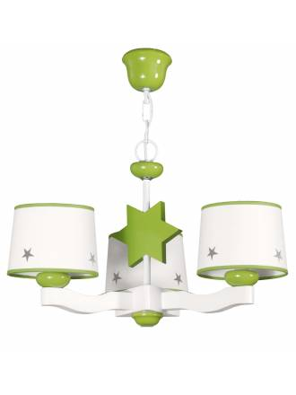 GLOBAL LUZ Star ceiling lamp 3L green lampshade