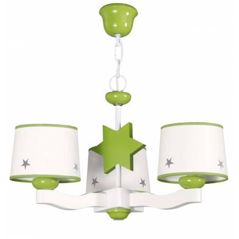 Lampara de techo Star 3 pantallas en verde de Global luz