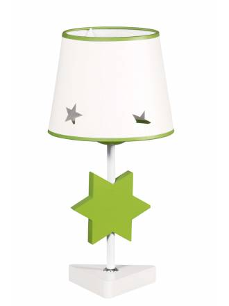 GLOBAL LUZ Star table lamp green lampshade