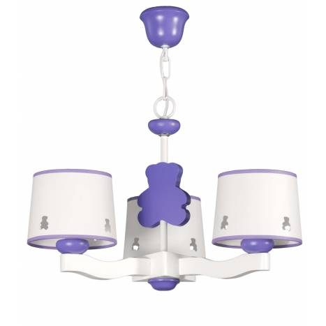 GLOBAL LUZ Bear ceiling lamp 3L lilac lampshade