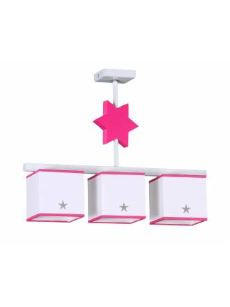 GLOBAL LUZ Star ceiling lamp 3L pink lampshade