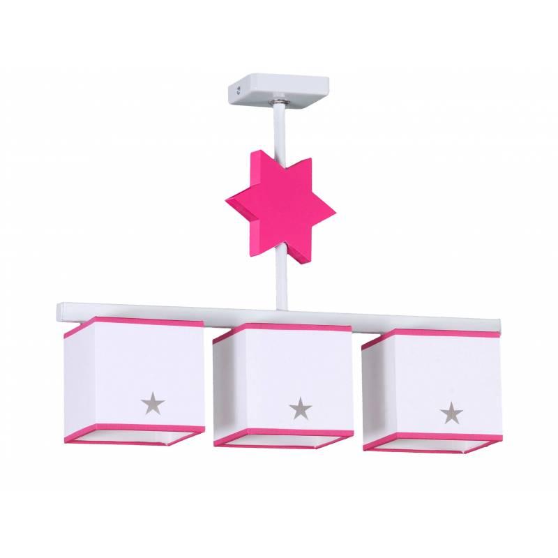 Lampara de techo Star 3 pantallas en rosa de Global luz