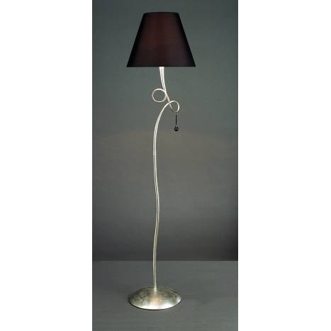 Mantra Paola floor lamp 1L silver lampshade black