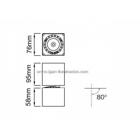 MANTRA Columbretes surface spotlight LED square