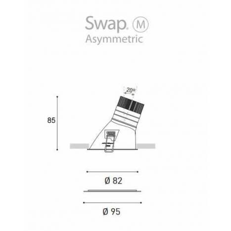 Foco empotrable Swap Asymmetric M LED de Arkoslight