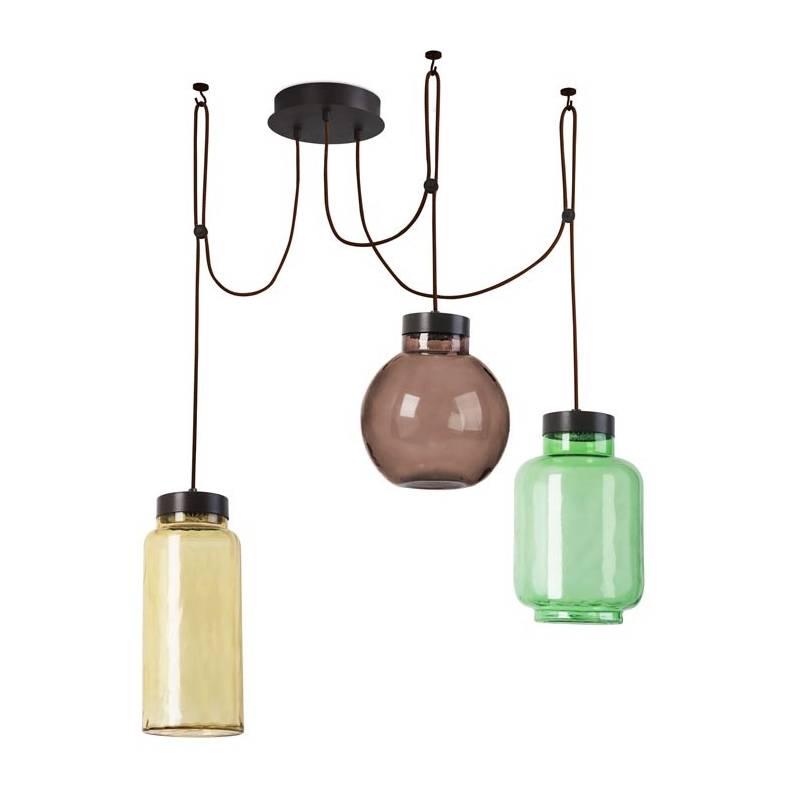 Leds C4 Raw Pendant Lamp 3 Lights Glass