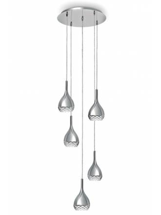 MANTRA Khalifa chrome pendant lamp 5 lights