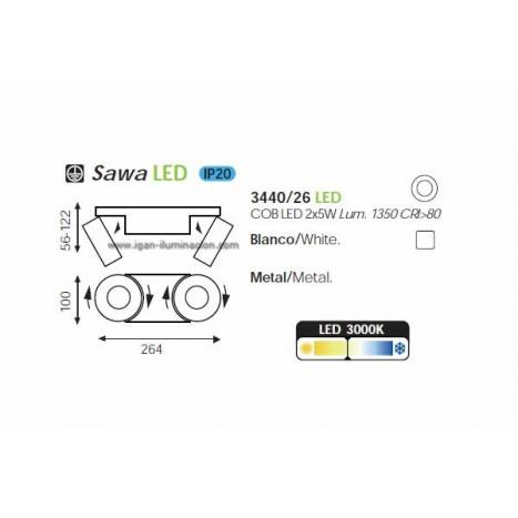 ACB Sawa surface spotlight 2L white