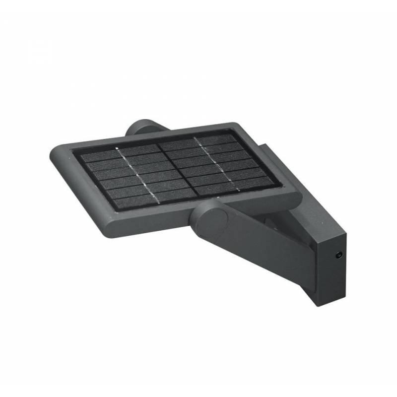 Aplique de pared proa 2 5w led solar negro beneito faure for Aplique exterior solar led