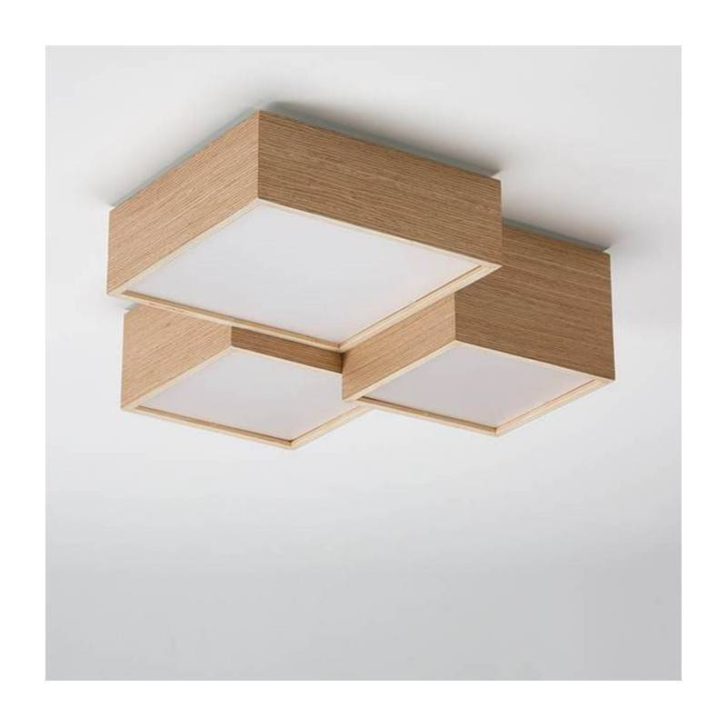 Plaf n de techo kube led smd 30w madera roble ole for Plafones de pared para salon