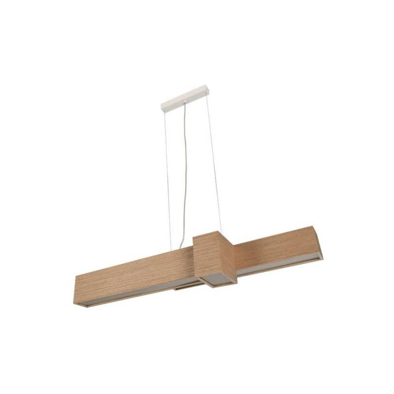 L mpara colgante kube led 20w madera roble ole - Lamparas colgantes de madera ...