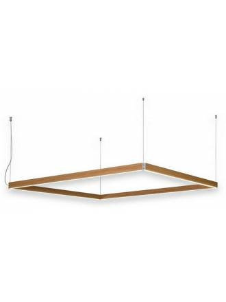 Lampara colgante Manolo LED rectangular madera de Ole